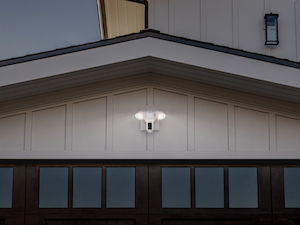 Ring Floodlight Camera installed above garage